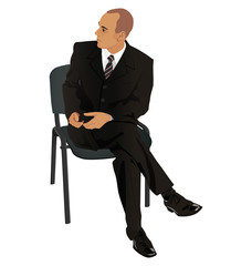 Young man on business suit sitting in office chair isolated on w
