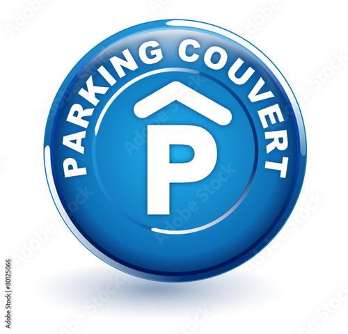 parking couvert sur bouton bleu - 80125066