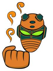 Cartoon Alien Head Masked and Fist