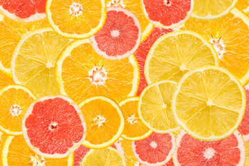 Lemon, Grapefruit, Orange And Tangerine Citrus Fruits Mix