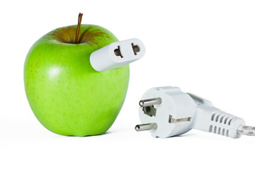 Apple with socket and  plug