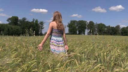 Pregnant woman walk between ripe barley crop ears