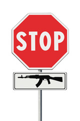 Stop weapons concept image on road sign