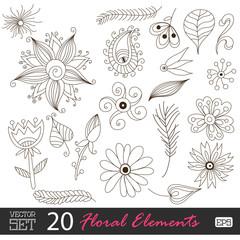 Floral vintage flower pattern set vector.