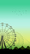 Vertical illustration of roller-coaster and Ferris Wheel. - 80126611