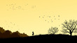 Horizontal illustration of girl in field windswept