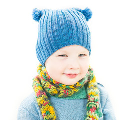 smiling boy portrait in stylish hat and scarf