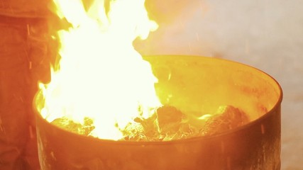 Fire flames in the barrel is ignited gasoline