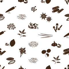 spices and seasonings icons seamless pattern eps10