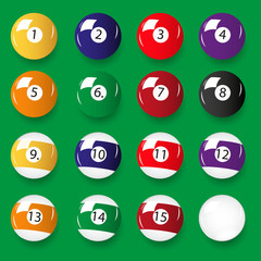 set of 16 color billiards balls eps10