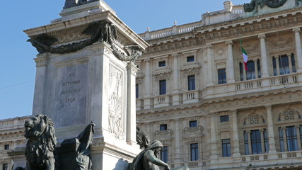 Camillo Benso di Cavour monument and Palace of Justice. Rome, It