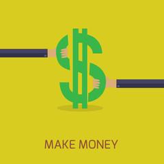 flat design make money concept
