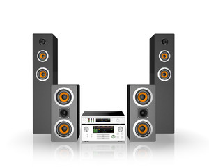 Home cinema speaker system. Loudspeakers, player and receiver