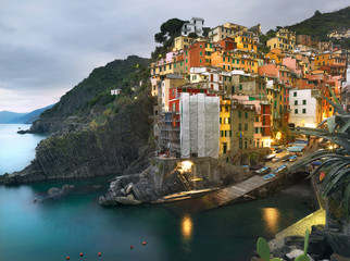 Riomaggiore village at dusk. Liguria