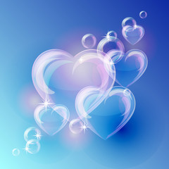Romantic background with bubble hearts shapes on blue background