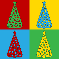 Pop art christmas tree symbol icons.