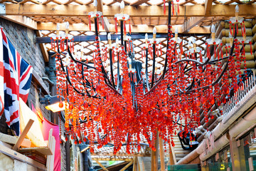 Red crystals chandelier