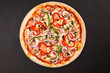 Tasty Italian pizza with mushrooms pepper onion sausage - 80131689