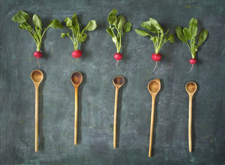 fresh radish and wooden spoons