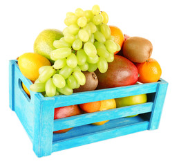 Assortment of fruits in box isolated on white