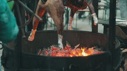 Hog roasts on the grill