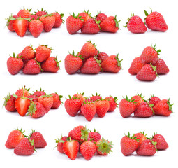 set of strawberry on white background