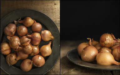 Compilation of shallots images with moody natural light vintage