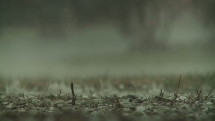 Rain drops hitting the ground during a big storm.  Three clips, recorded in slow motion at 60fps.