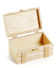 small open wooden crate isolated