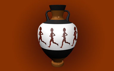 Vase with handles in antique style depicting runners