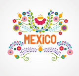 Fototapety Mexico flowers, pattern and elements