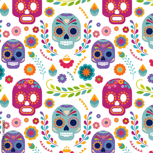Mexico pattern with skull and flowers - 80136482