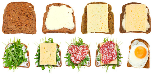 set of sandwiches from toasted rye bread isolated