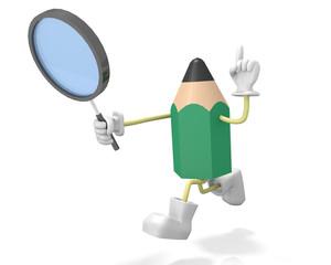 虫眼鏡で探す鉛筆キャラクター