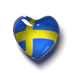 Swedish heart with flag of Sweden inside. Isolated on white.