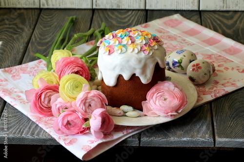 Leinwandbild Motiv Пасхальный кулич и конфеты в глазури