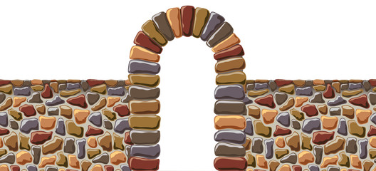 Arch and the wall of rough stone. Vector.