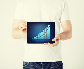man hands holding tablet pc with graph