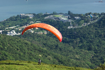 Paragliding - take off.