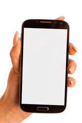 Beauty woman using and reading a smart phone isolated on a white