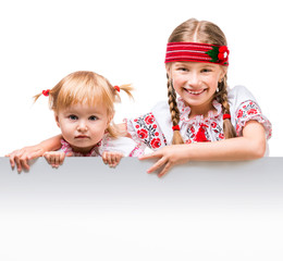 Two little girls in the Ukrainian national costume
