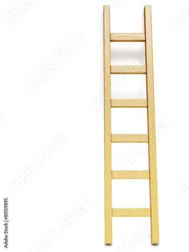 Fotobehang Trappen Wooden ladder near white wall