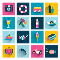 Summer flat colorful icon collection.