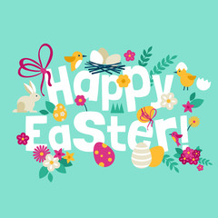 Happy Easter greeting card design with modern flat icons