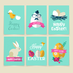 Happy Easter greeting card set with modern flat icons