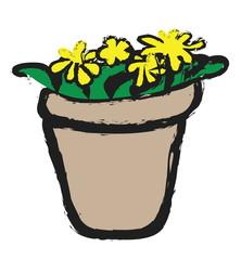doodle flowers in pot