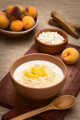 Bowl of oatmeal porridge with peach slices