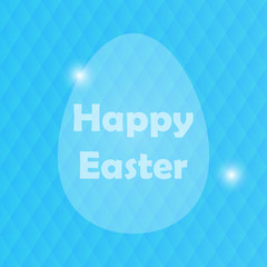 Easter Greeting Card with Egg and blured blue background