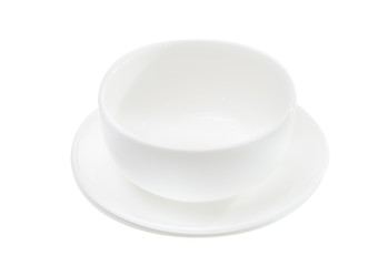 white ceramics plate and bowl on white background