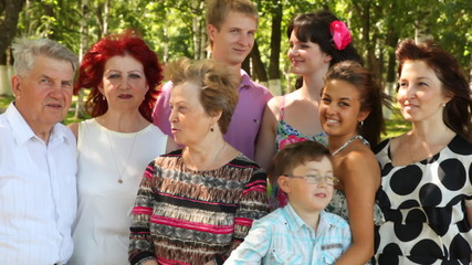 family with grandmother, grandfather, mother and children